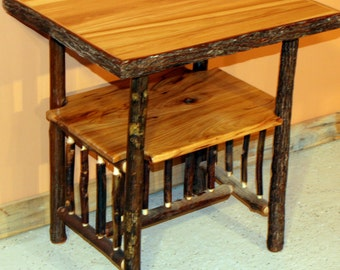 HICKORY LOG TABLE - Old Fashioned Hickory Side Table