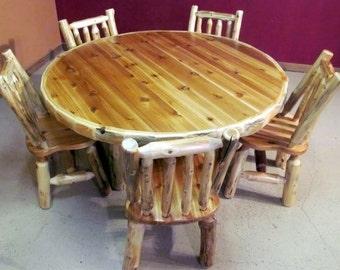 ROUND LOG Dining TABLE - Cedar Log Table