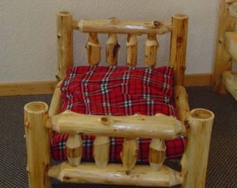 RUSTIC DOG BED - Cedar Log Dog Bed - Pet Bed