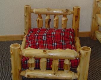 RUSTIC DOG BED - Cedar Log Dog Bed - Pet Bed