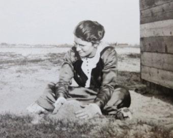Vintage 1930's Beautiful Woman Plays In Sand Along Lake Michigan Snapshot Photo - Free Shipping