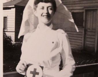 1940's World War II Era American Red Cross Volunteer Snapshot Photo - Free Shipping