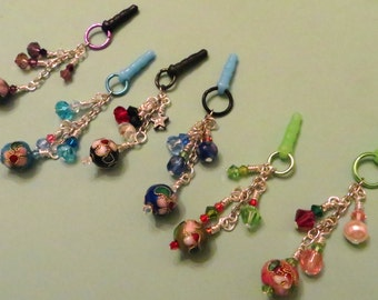 Choose your color-- Cloisonne cell phone charm, dust plug charm