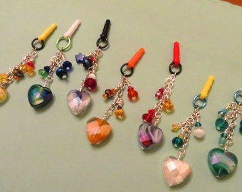 Choose your color-- Swirled Heart cell phone charm, dust plug charm, shower favor, gift