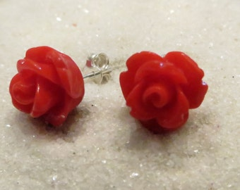 Tiny Red Rose earrings, silver jewelry, floral jewelry, minimalist