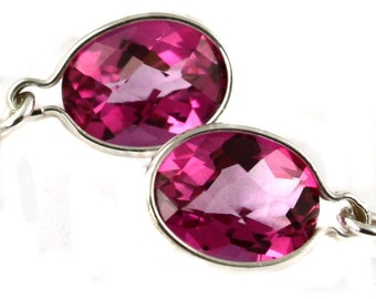 Pure Pink Topaz, 925 Sterling Silver Threader Earrings, SE005