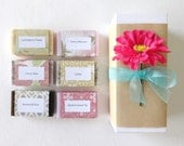 Mothers Day Gift, Lovely Gift Set, Handcrafted Soap, Sample Soap Gift Box, You choose the soap you want. Hostess Gift