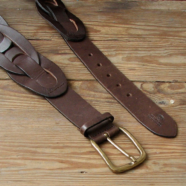 brown leather belt gold metal buckle plaited genuine