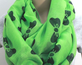 Fresh Green Bow Infinity Scarf Light and Silky Chiffon Bow Scarf Brown Infinity Scarf