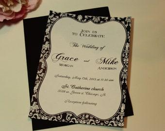 100 Wedding Invitations, invites Vintage antique damask Black and white invites