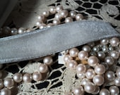 1 yd Dove Grey Vintage Velvet Ribbon Trim Yardage Available Old Store Stock