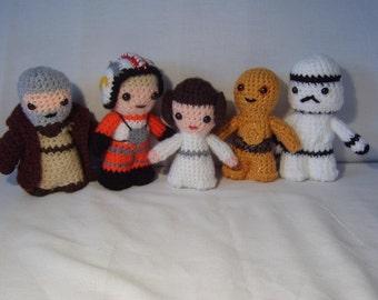 Princess Leia, Luke Skywalker, C3P0, Obi Wan Kenobi or Stormtrooper -star wars inspired crochet characters