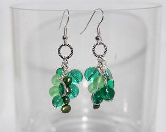 Green Cluster Earrings