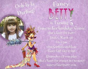 Fancy Nancy Birthday Invitation, Personalized Fancy Nancy Invite, Printable