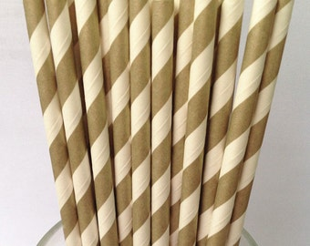 Paper Straws 50 Golden Stripes Paper Drinking Straws Vintage Paper Decorative Straws-Party Straws-Retro Wedding Straws-Gold Paper Straw Bulk