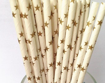 Paper Straws 50 Golden Star Paper Drinking Straws Vintage Paper Decorative Straws-Party Straws-Retro Wedding Paper Straws-baby shower straws