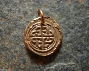Celtic Knot Wax Seal Charm, infinite, infinity, endless, timeless, cycles, birth, rebirth, life, wax seal jewelry, celtic knot necklace