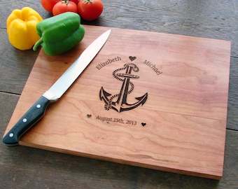 Your Love Is My Anchor Cutting Board Wedding Gift Couple's Anniversary Gift Birthday Christmas Present