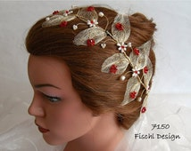 Wedding tiara diadem blossom leaves filigree wire pearls gold red ivory white 7150