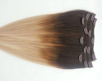 20inches 7pcs Clip In Human Ombre Hair Extensions T2/18