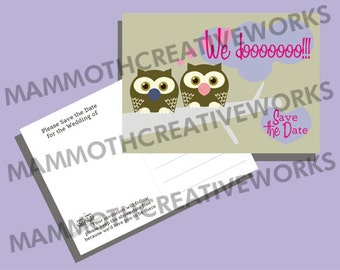 50 Owl Save the Date Postcards