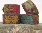 Leather Bracelet, Leather Cuff, Hand-Painted and Embossed with Flowers