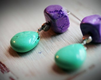 Purple and Green Drop Earrings