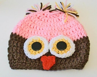 So Cute Brown and Pink Owl Hand Crocheted Baby and Childrens Hat Great Photo Prop 5 Sizes Available