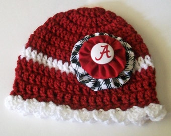 Alabama Inspired Crimson White and Houndstooth Hand Crocheted Baby and Childrens Scalloped Edge Hat Great Photo Prop 5 Sizes Available
