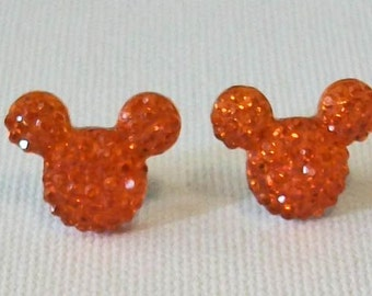 Small Citrus Orange Textured Rhinestone Mouse Inspired Pierced Stud Earrings