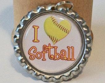 I Love Softball Flattened Bottlecap Pendant Necklace