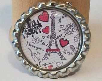 Pink and Black Paris Eiffel Tower Sketch Flattened Bottlecap Pendant Necklace