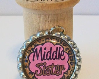 Cute Hot Pink and Cheetah Print Middle Sister Flattened Bottlecap Pendant Necklace
