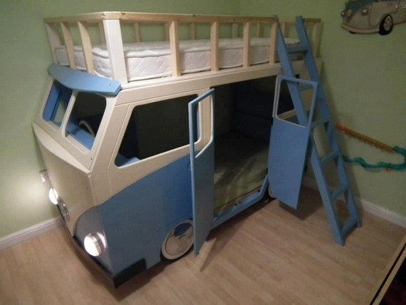 Items similar to vw style campervan bunk bed on etsy for Campervan bedroom ideas