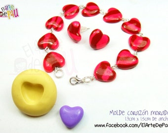 Flexible heart silicone mold (13mm) / flexible purple heart mold
