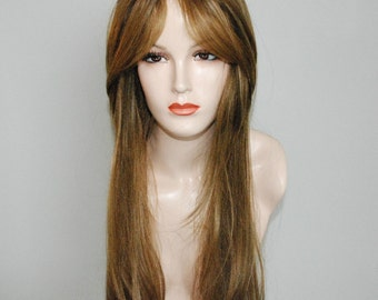 Ash brown and ash blonde mix with high lights of golden blonde long layered wig with bangs