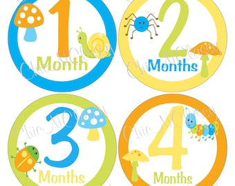 Bug monthly stickers, boy gifts, Happy Bugs- PRINTABLE Round Monthly Infant Stickers-.PDF Instant Download Digital file only-Item No. MS001