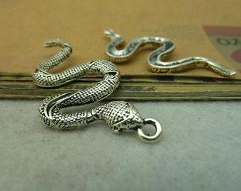 5pcs 24x53mm Antique silver Snake Charms Pendants