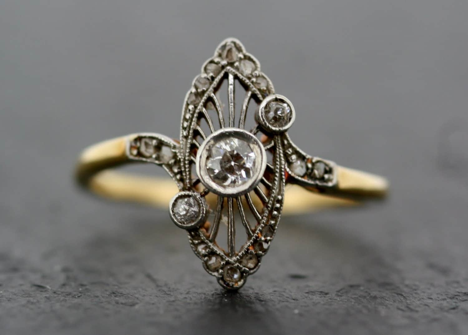 Antique Art Deco Ring Vintage Diamond Art Deco 18ct Gold