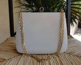 Nicholas Reich VTG 60s Shoulder Bag Kelly Ivory White Leather/Brass Purse
