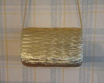Metallic Gold La Regale Shoulder Bag/Clutch with Gold Satin Formal Party Purse