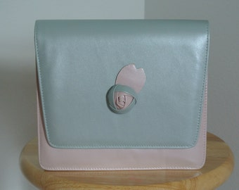 Vintage 80s Costa Blanca Made in Spain Clutch Purse Baby Pink & Blue
