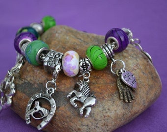 """Snazzy """"Luck and Prosperity"""" Charm Bracelet with Silver Charms, Green/Purple/White Glass Beads"""