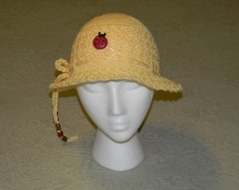Crochet Yellow Girls Hat