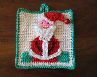 Jolly Santa potholder pattern - INSTANT DOWNLOAD