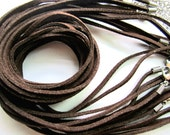 Hight Quality--50pc brown/black 18-20inch 2.5mmsuede leather cords/necklace cords with lobster clasp and extension chain