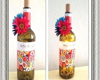 Summer wine bottle lamp