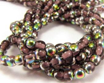 Amethyst Vitrail 4mm  Round Czech Glass  Beads 100pc #1416