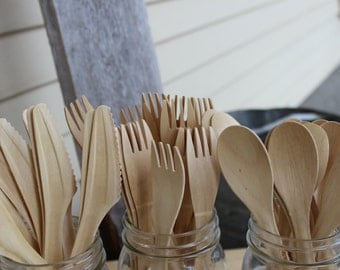 25 sets Wood disposable utensils forks spoons and knife set