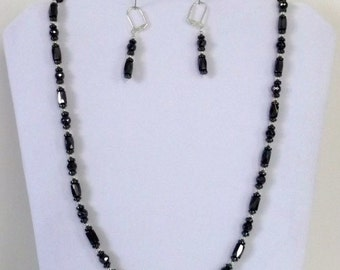 Handmade One of a Kind Magnetized Hematite Necklace and Earrings Set